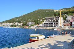 The Beach of Neum. Neum, Bosnia and Herzegovina – September 06, 2015: The Beach of Neum. The country has very small outlet on the Adriatic Sea near the town of Royalty Free Stock Image