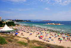 Beach in the new part of Nessebar  Bulgaria, Black sea coast. Beach in the new part of Nesebar  Bulgaria, Black sea coast. On the background - Nesebar Old Town Royalty Free Stock Photography