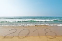 Beach New Year backdrop. Beach backdrop with wave washing away year 2017 and revealing 2018. New Year concept Royalty Free Stock Photography