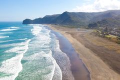 Beach in new zealand. Aerial view at piha beach from lion rock at north island in new zealand Stock Photography