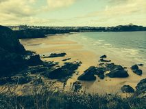 Beach in Newquay Cornwall stock images