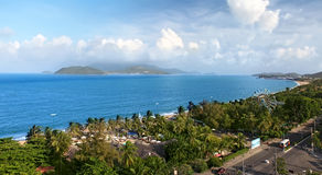 Beach in Nha Trang, Vietnam. Beach in Nha Trang. Top view. Vietnam royalty free stock image