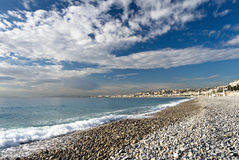 Beach in Nice. Sea and sky on the beach in Nice Royalty Free Stock Photography