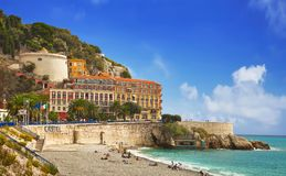 Beach in Nice royalty free stock photos