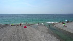 Beach in Nice in France - Wide Shot stock video footage