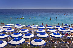 Beach, Nice, French riviera. Beach of Nice on the French riviera, France Stock Photos