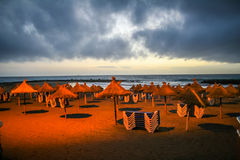 Beach at night. Beautiful beach in Tenerife before storm 2 royalty free stock photography