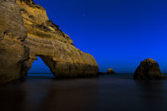 Beach at night with blue sky Royalty Free Stock Images