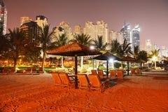 Beach night illumination of the luxury hotel Stock Images
