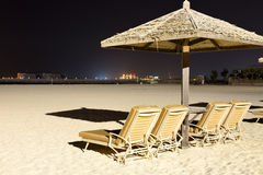 Beach night illumination with a view on Palm Jumeirah Stock Image