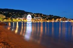 Beach at night in le lavandou var cote d'azur provence, France stock image
