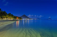 Beach at night. In Mauritius Royalty Free Stock Photos