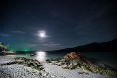 Beach at Night with Moon and Stars - Ko Li Pe, Thailand Stock Image