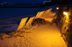 Beach at night. Night sand beach view, Bermuda Royalty Free Stock Image