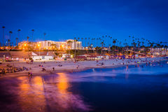 The beach at night, seen from the pier in Oceanside  Royalty Free Stock Image