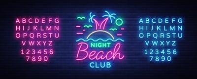 Beach nightclub neon sign. Logo in Neon Style, Symbol, Design Template for Nightclub, Night Party Advertising, Discos. Celebration. Neon banner. Summer. Vector royalty free illustration