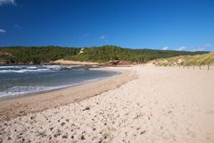 Beach with nobody at Menorca Stock Photo