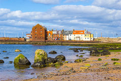 Beach at North Berwick with the view on the harbour, Scotland Stock Photography