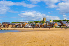 Beach at North Berwick with the view on the harbour, Scotland Stock Images