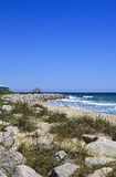 Beach in North Carolina. Kure Beach at the Historic Site of Fort Fisher in North Carolina royalty free stock images