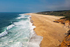 The beach north of Nazare Stock Images
