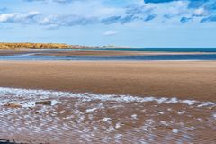 North Sea coast in Cambois, England, UK. The beach on the North Sea coast in Cambois, Northumberland, England, UK stock images