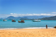 Beach in the north shore of Sao Paulo state in Brazil, South America. Beautiful beach in the north shore of Sao Paulo state in Brazil, South America stock photography