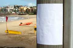 Beach Notice. Blank sign posted at a beach waiting for your message royalty free stock photography