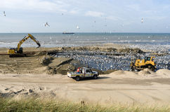 Beach nourishment. Beach nourishment on the beach in Katwijk, Netherlands Royalty Free Stock Photography