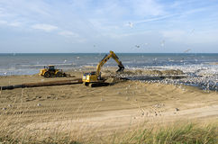Beach nourishment. Royalty Free Stock Photos
