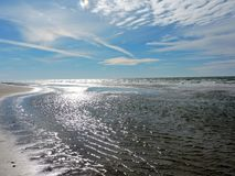 Beach in November. Clear blue sky on a November late morning walk on the beach stock photos