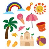 Beach object collection vector illustration