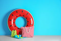 Beach objects near color wall with space. For design. Summer vacation stock images