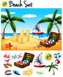 Beach objects and ocean scene Stock Photo