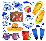 Beach objects and sealife hand drawn watercolor set. Flippers, suitcase, ball, glasses, bucket, turtle, fishes, corals and jellyfishes isolated on white royalty free illustration