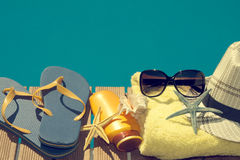 Beach objects. Objects summer vacation at the beach and pool Royalty Free Stock Photo