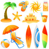 Beach objects vector royalty free illustration