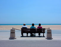 Beach observer. People at coast observing beach royalty free stock photos