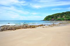 Beach, ocean and blue sky Royalty Free Stock Photo