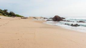 Beach Ocean Fishermen Rocky Coastline Landscape royalty free stock photo