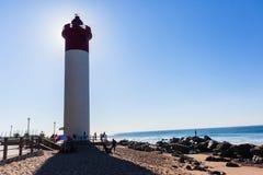 Beach Ocean Lighthouse Backlight People Stock Photos