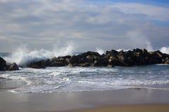Beach and ocean. ocean waves on  beach. Background with ocean waves on beach, the  Venice beach, California Stock Photography