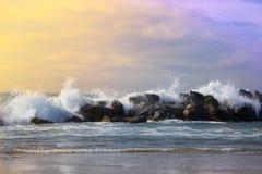 Beach and ocean. ocean waves on  beach. Ocean waves on beach, the  Venice beach, California Royalty Free Stock Photo