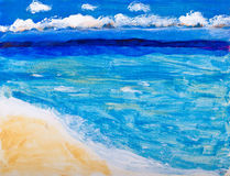 Beach and ocean vacation painting Stock Photography