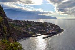 Beach ocean view, Ponta Delgada, Madeira, Portugal. Sunset beach ocean view, Ponta Delgada, Madeira stock image
