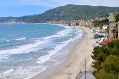 Free Beach Of Alassio, Liguria, Italy Stock Images - 27117814