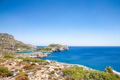 Beach off the coast of the island of Rhodes in Faliraki, Greece. Stock Images