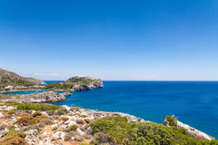 Beach off the coast of the island of Rhodes in Faliraki, Greece. Stock Image