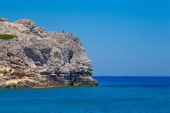 Beach off the coast of the island of Rhodes in Faliraki, Greece. Stock Photo