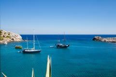 Beach off the coast of the island of Rhodes in Faliraki, Royalty Free Stock Photo